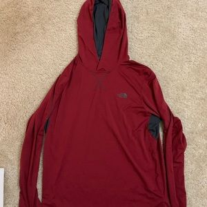 Red North Face Thin Hoodie
